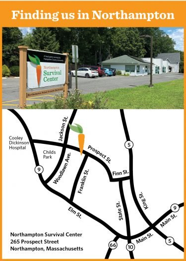 Map to the Northampton Survival Center