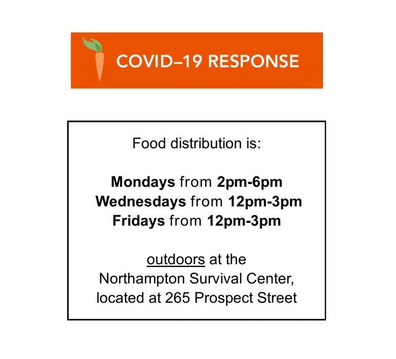 Current food distribution hours and location for the Northampton Survival Center